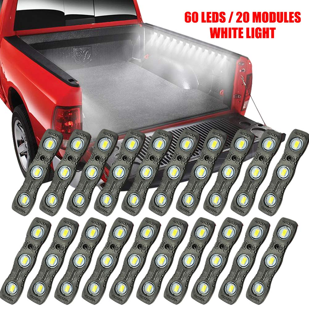 Under Car Ampper LED Truck Bed Light Kit 60 LEDs Cargo Lighting Strips W//Switch Fuse Splitter Cable for Truck Bed 2 Strips, 20 Pcs, White Rail Light and More Foot Wells