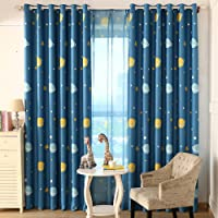 Top Finel Blackout Thermal Insulated Curtains Window Treatment Eyelet for Children Kids Bedroom, Printed Dark Blue with Planet 100x200 cm, 2 Panels