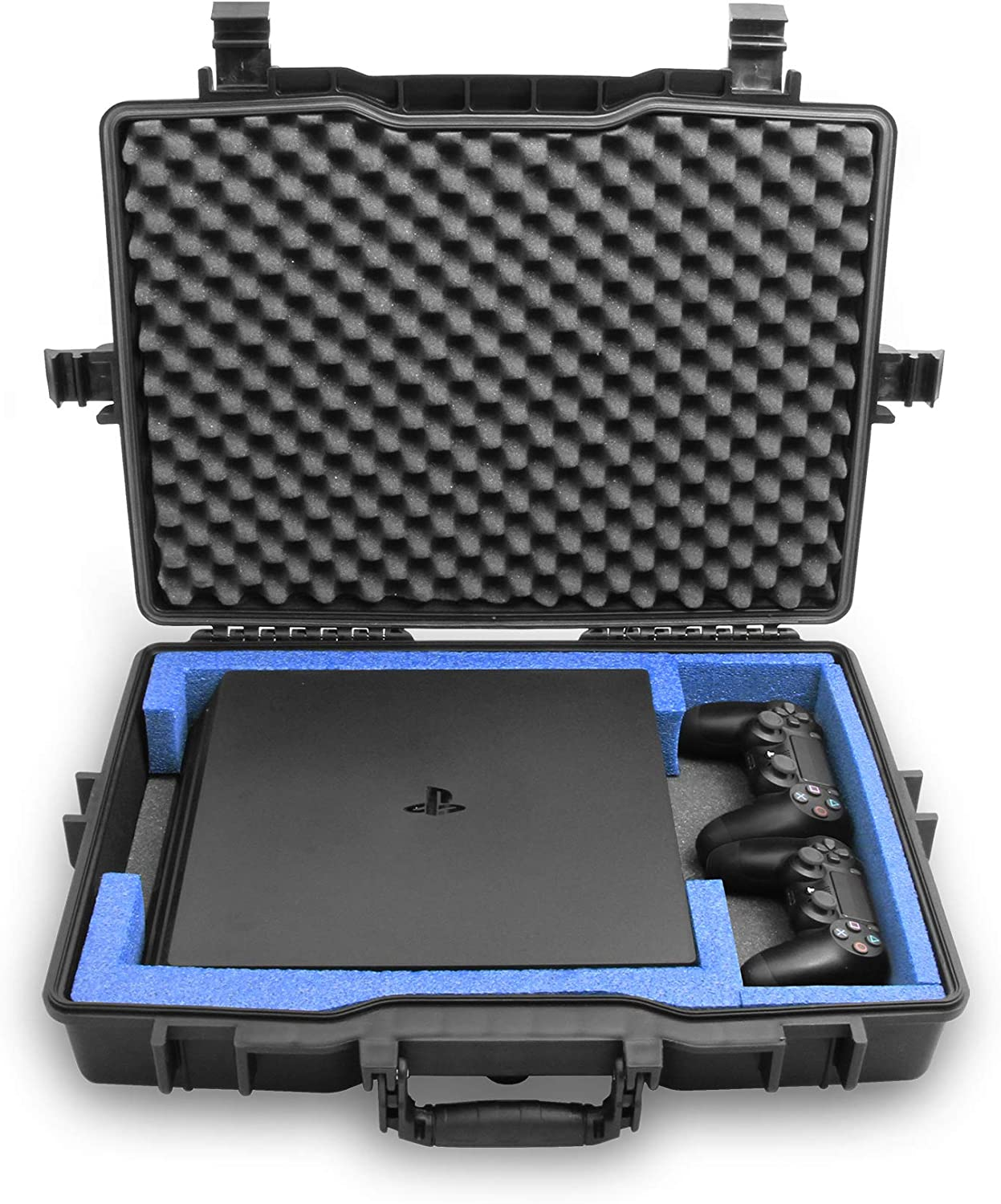 Casematix Waterproof PS4 Carrying Case Compatible with Playstation 4 Pro 1TB Console, PS4 pro Dual Shock Controllers and Cables, Includes Case Only