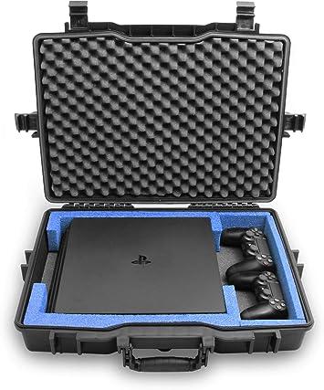 Casematix - Carcasa rígida Impermeable para Consola de Juegos Compatible con PS4 Pro, 2 Playstation 4 Pro Dual Shock Controllers o Movimiento inalámbrico y Cables, Incluye Solo la Funda: Amazon.es: Electrónica