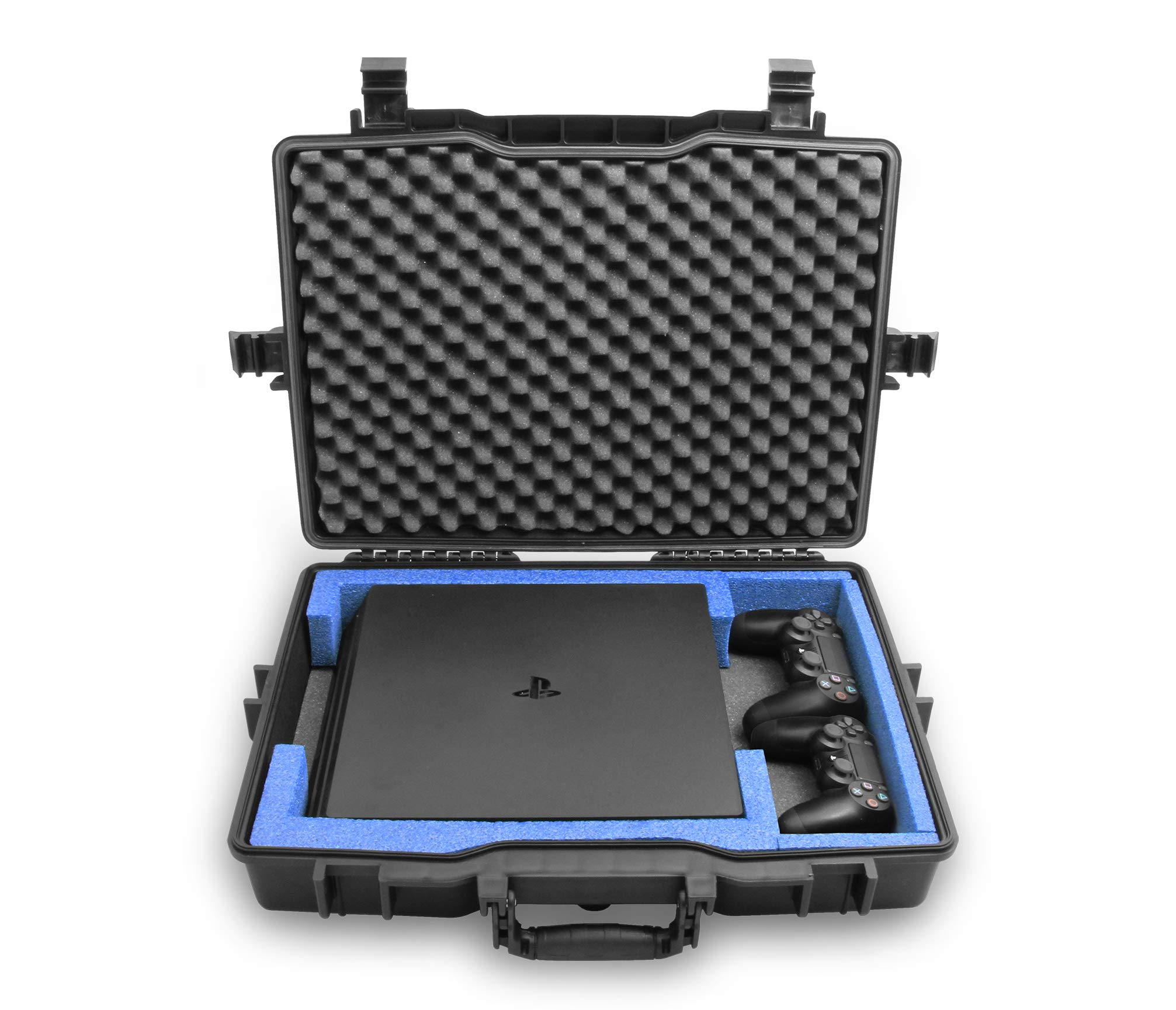 Estuche de transporte PS4 impermeable Casematix Compatible con la consola Playstation 4 Pro de 1 TB, controladores y cables de doble choque PS4 pro, incluye solo estuche