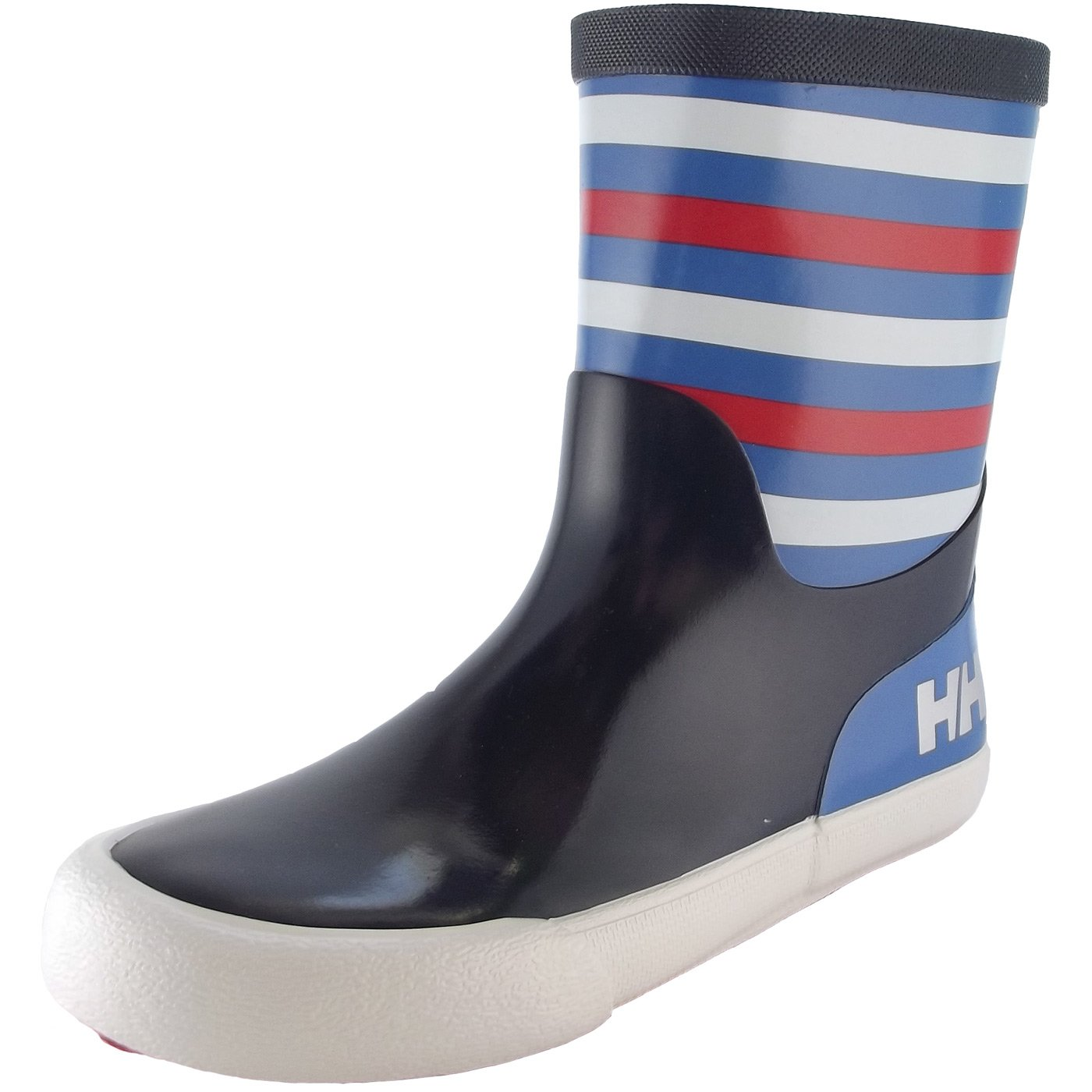 Helly Hansen Boys and Girls Waterproof Nordvik Stripe Youth Rain Boots, Evening Blue/Blue Water/Grenadine/Off White/Reflective, 13