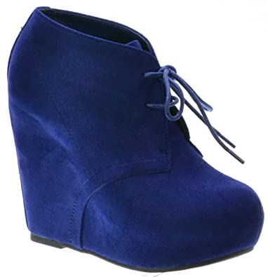 74419f05c6a7 Breckelle s JENNY-13 Women s Lace Up Collar Platform Wedge ankle Boots  Booties