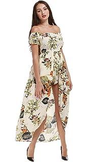 64bd2f58737 PhiFA Women s Off Shoulder Party Maxi Romper Dress Split Floral Casual  Jumpsuit