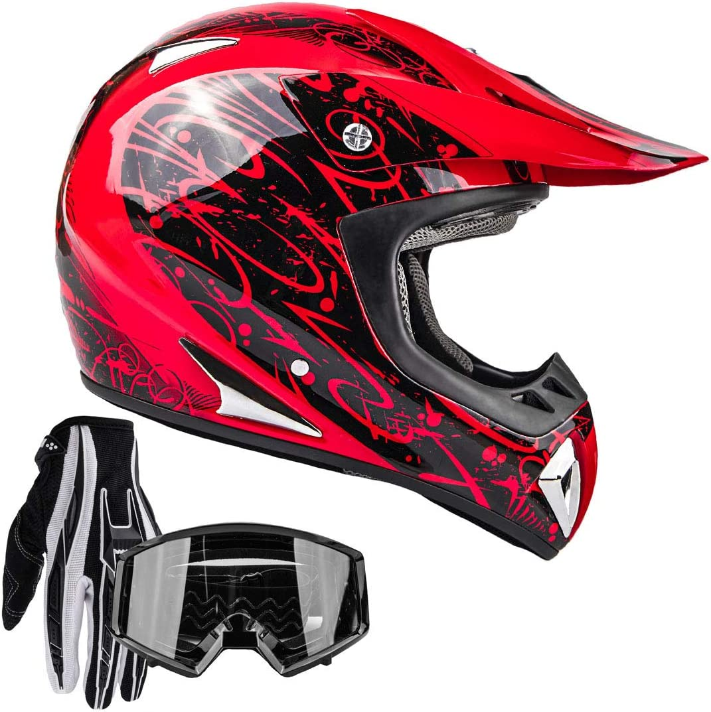 WangWDN Adult Motocross Helmet MX Motorcycle Helmet ATV Scooter ATV Helmet D.O.T Certified Rockstar Multicolor with Goggles Gloves Mask