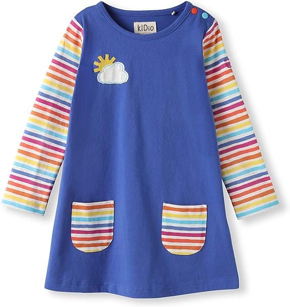 Beauty GO Kid Girls Striped Long Sleeve Raglan Pocket T-Shirt Dress
