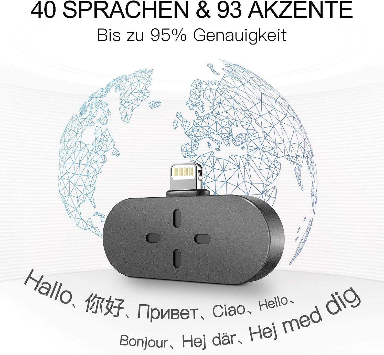 Business und Sprachenlernen /Übersetzer Sprach/übersetzer Tragbar Sofort /Übersetzer Sprach/übersetzer Offline und Aufnahme Sprach/übersetzer f/ür Reisen Schwarz