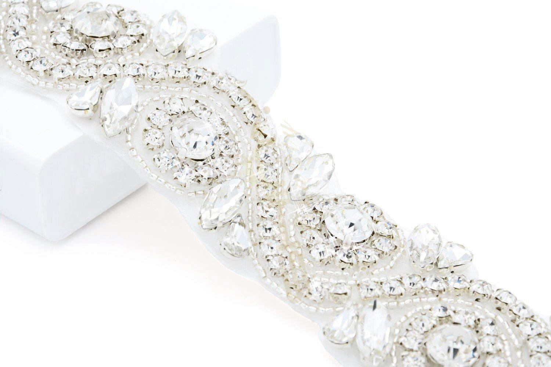 Cristal y Rhinestone Flor Vestido de Novia Cinturones DIY Rom/ántica Boda Velo beltt RA245 ShinyBeauty Boda Sash Cristal Diamante Rhinestone Applique