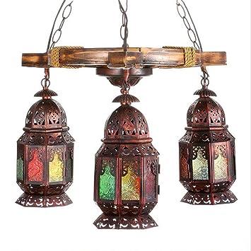 GAOLIQIN Lámpara Bohemia de Tres Cabezas, Creativa Antigua ...