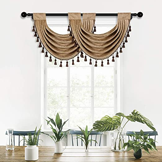 Aqua Green, 30 W x 22 L, 1 Panel ELKCA Thick Chenille Waterfall Swag Valances for Living Room Green Valance Curtains for Kitchen