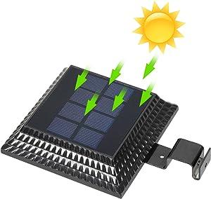 Solar Gutter Lights Outdoor 12 LED, Wireless Gutter Lights Dusk to Dawn, Waterproof Security Wall Lights Auto On/Off Light Sensing for Garden, Fence, Yard, Roof Solar Powered Lights (Black 6000k)