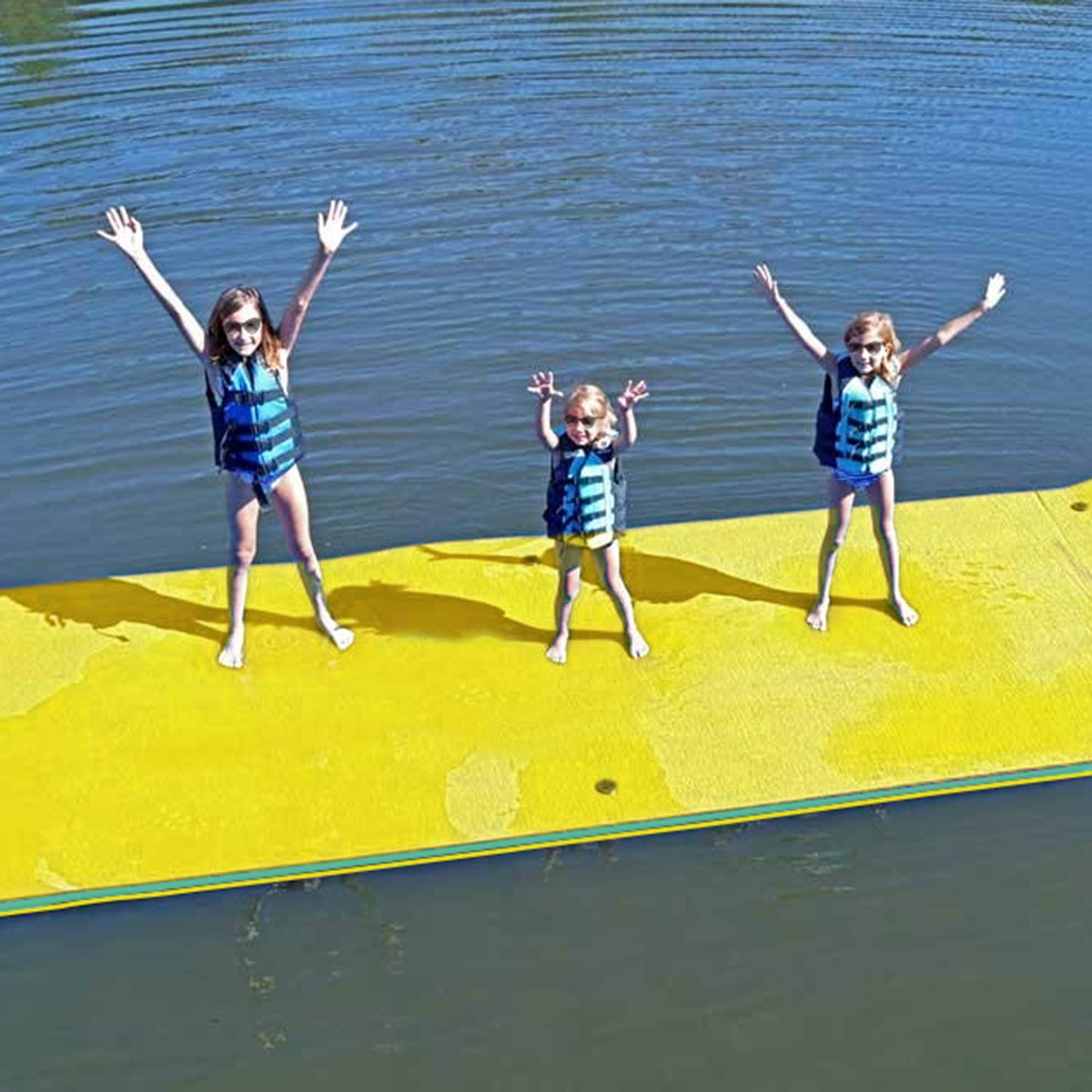 Superday Floating Water Mat Recreation Foam Pad Adults Kids Relax On Pool Lake&Ocean 12' x 6', Yellow