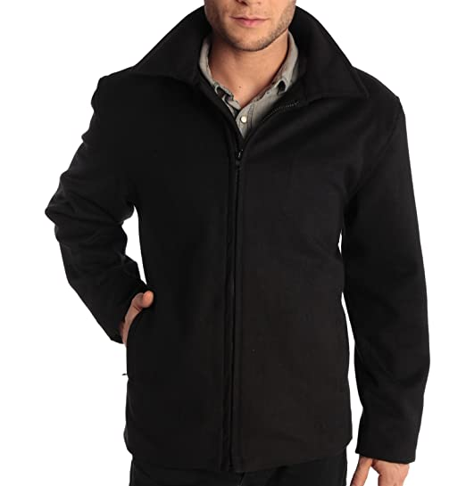 "Alpine Swiss Grant Mens Wool 28"" JD Zip Open Front Jacket Black SML"
