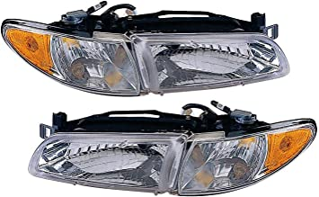 Headlight Assembly Compatible with 1997-2003 Pontiac Grand Prix Halogen Coupe//Sedan Passenger and Driver Side