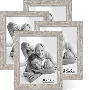 BOICHEN Picture Frames 8x10 (4-Pack) - Rustic Distressed Farmhouse Wooden Frame - Photo Frame with Glass Cover Ready to Hang or Stand