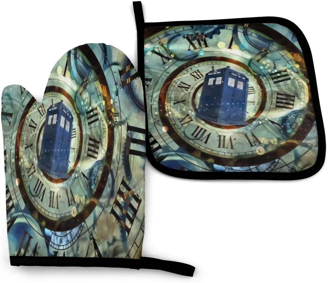 KZEMATLI Doctor Dr Who Police Box Mice Oven Mitts and Potholders, Heat Resistant Kitchen Gloves,Cotton Lining Non-Slippolyester Surface