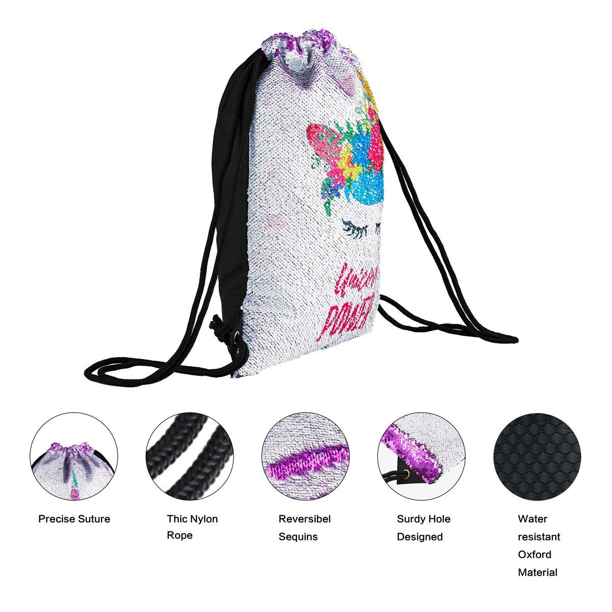 Unicorn Gift Sequin Mermaid Drawstring Backpack Gym Dance Bags for Girls Kids Magic Reversible Flip Sequin School Bag Shoulder Travel Bags Birthday Gift for Daughter Children Women Segorts