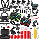 SmilePowo 51-in-1 Sport Camera Accessories Kit for GoPro Hero 8 Max 7 6 5 4 3 3+ 2 1 Black GoPro 2018 Session Fusion Silver White Insta360 DJI AKASO APEMAN YI Campark SJCAM XIAOMI (Floating Grip)