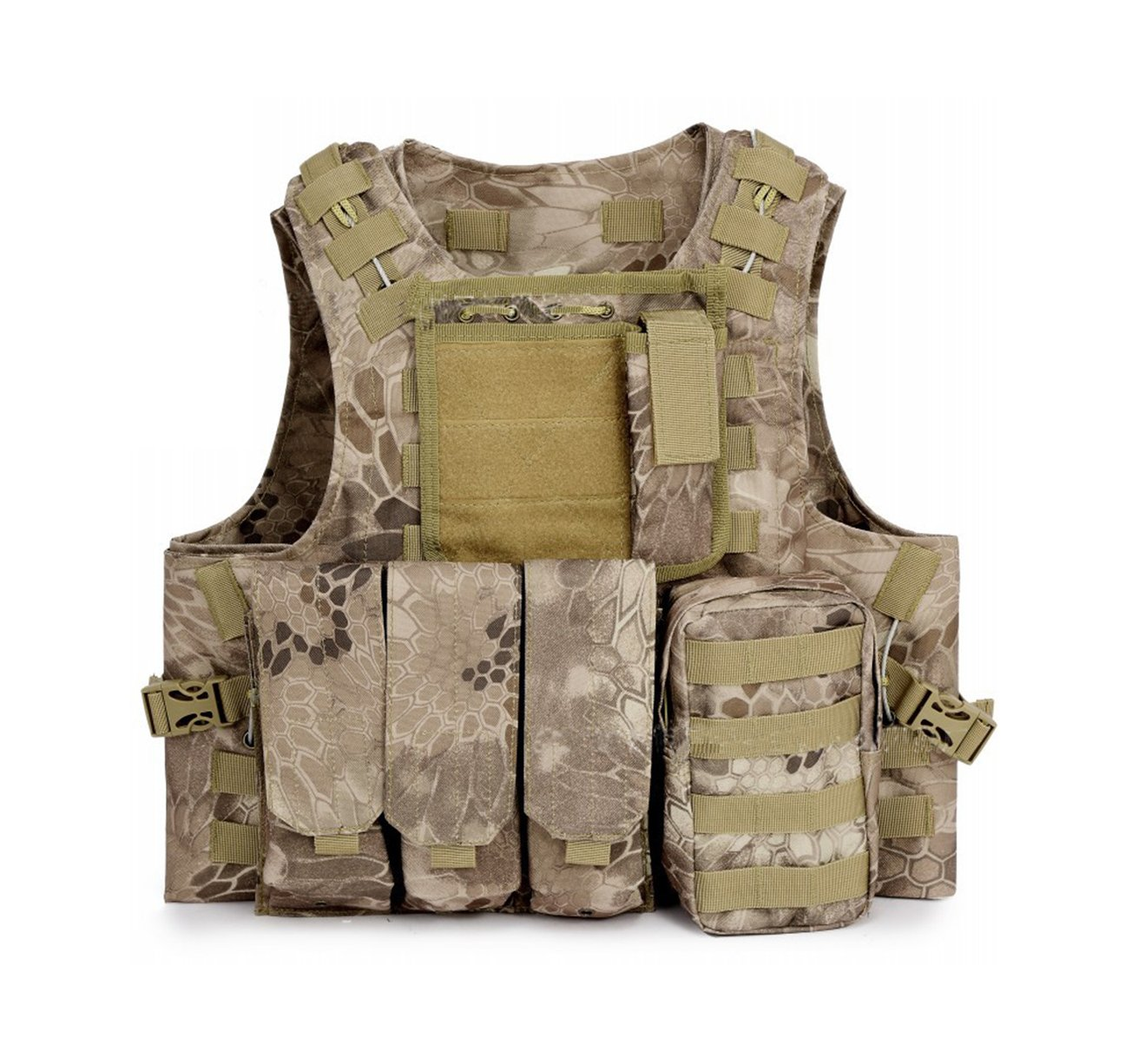 ESA Supplies Tactical Molle Airsoft Vest Paintball Combat Training Vest Soft Vest Tan Python Pattern by ESA Supplies