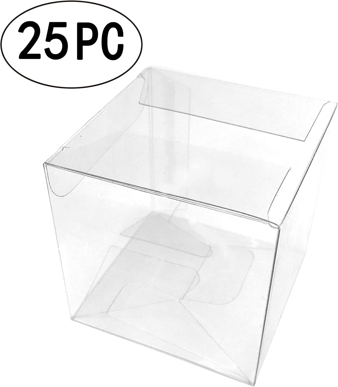 Clear Square Candy Boxes Transparent Thank You Treat Boxes Plastic PET Gift Packaging Boxes Wedding Baby Shower Party Favors Boxes, 25pc