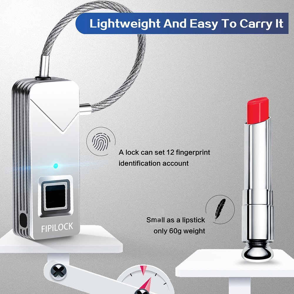 YAHEY Fingerprint Lock, Portable Smart Biometric Padlock Security No Password Waterproof and Anti-Theft Padlock for Golf Bag Suitcase, Gym Locker, Cupboard, Drawer Bike and More(Sliver) by YAHEY (Image #4)