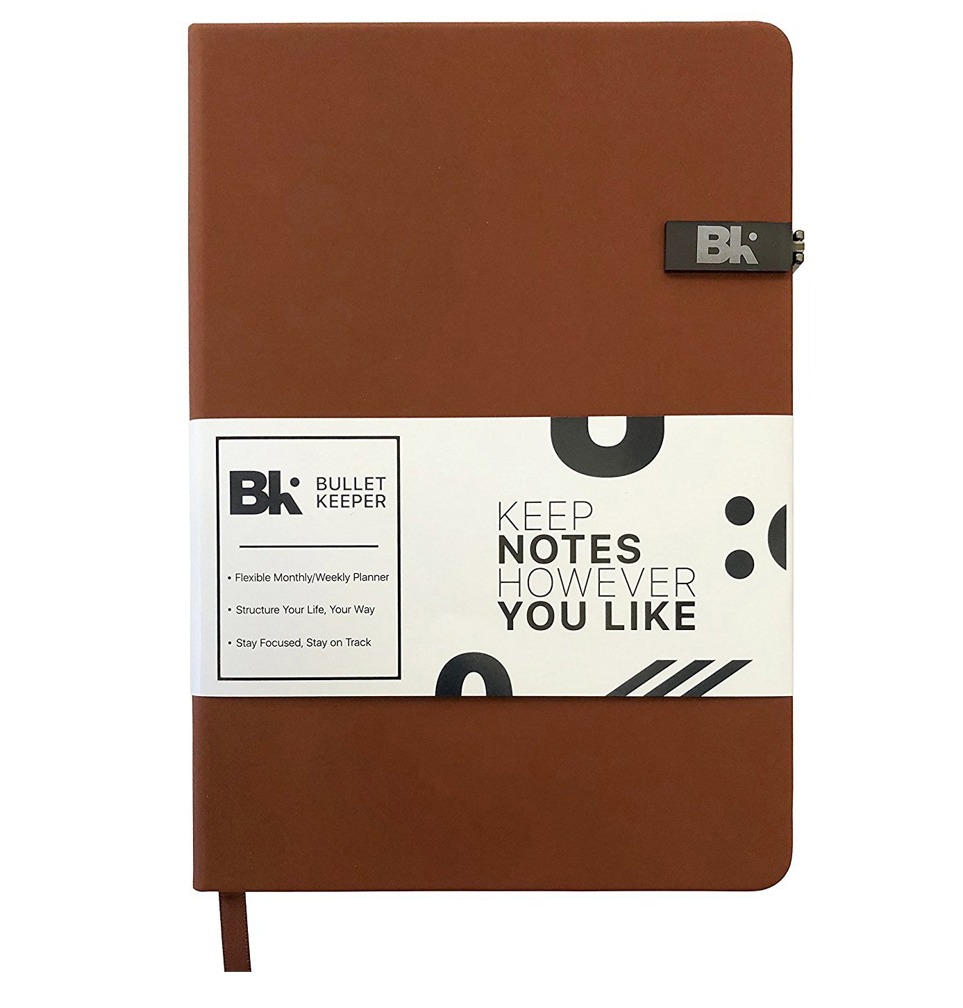 "Bullet Keeper   Daily Weekly Monthly Planner   Undated Student/School/Work Schedule Planner   A5 Dot Grid Notebook   Hardcover Leather Bullet Journal Personal Organizer   52 Week Journal   5.8 X 8.3"" by Bullet Keeper"