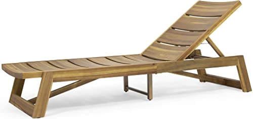 Great Deal Furniture Lillian Outdoor Wood and Iron Chaise Lounge, Teak and Yellow