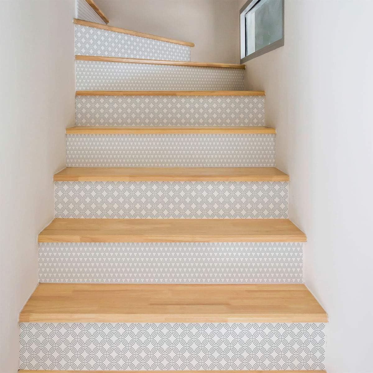 Ambiance-Live col-stairs-ROS-B092_30 x 105 cm, 2 pegatinas de azulejos de escaleras, Vinilo, Oskar, 4 tiras de 15 x 105 cm: Amazon.es: Hogar