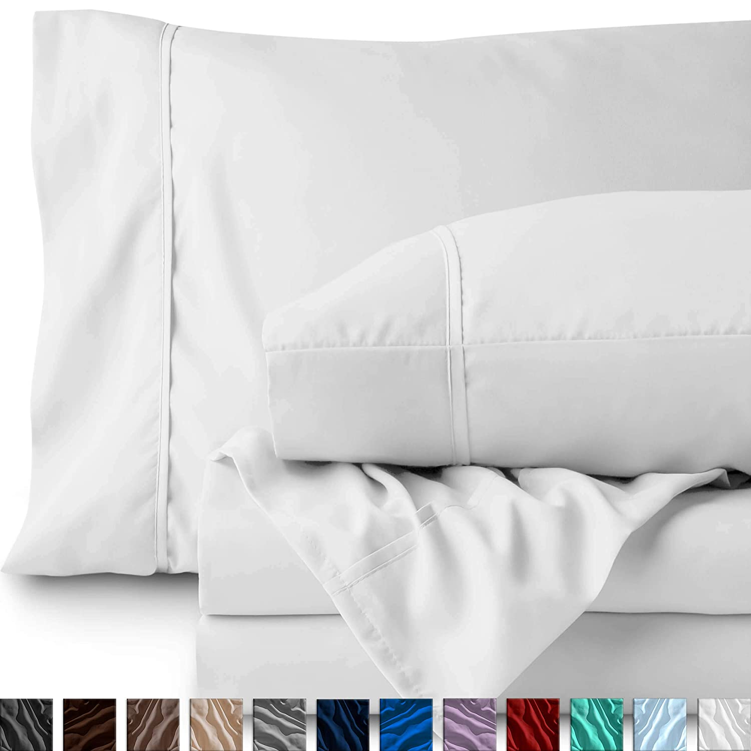 Bare Home Twin XL Sheet Set - College Dorm Size - Premium 1800 Ultra-Soft Microfiber Sheets Twin Extra Long - Double Brushed - Hypoallergenic - Wrinkle Resistant (Twin XL, White)