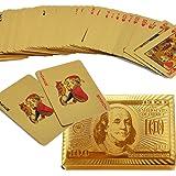 SandiaSummer 24K Gold Foil Plated Playing Cards 100 Dollar Full Poker Deck Gift