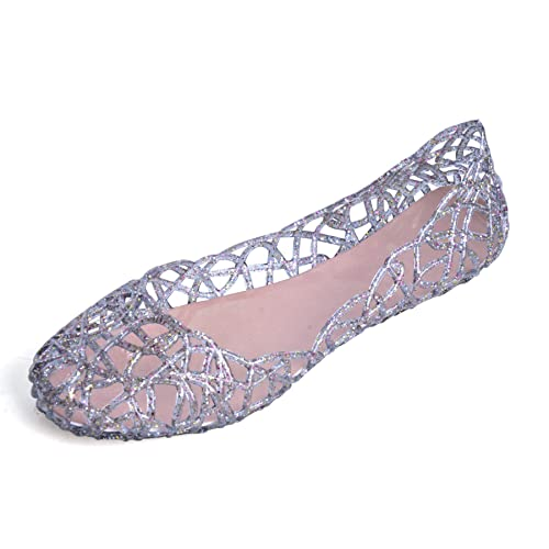 5dbfd2dd4d8e Hee grand Womens Summer Jelly Shoes Ballet Flats Slip On Hollow Out Loafers Bird  Nest Mesh