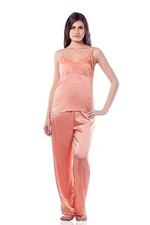 Miss Chase Women's Satin Nightwear Pyjama set Sleep & Lounge Wear at amazon