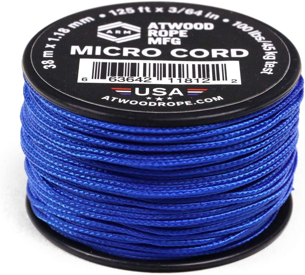 Tactical Nylon//Polyester Fishing Gear Jewlery Making Atwood Rope MFG Micro Utility Cord 1.18mm X 125ft Reusable Spool Camping Accessories