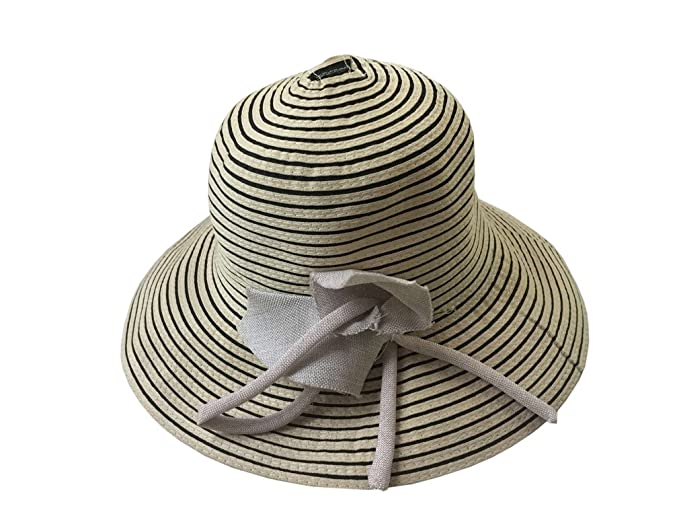 1e8b7c249df YueLian Women s Summer Round Top Stripes Wide Brim UV Bucket Floppy Sun Hat  (Black Stripes