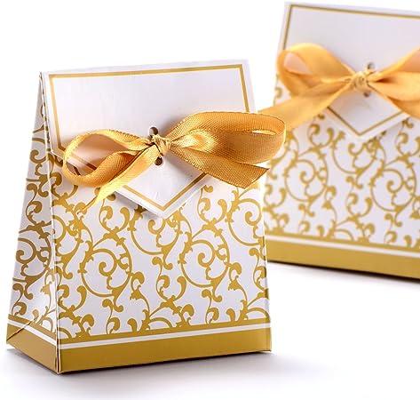CLE DE TOUS 50 pcs Caja para Regalos Caramelos / Bombones Galon Dorado Decoracion para Boda: Amazon.es: Hogar