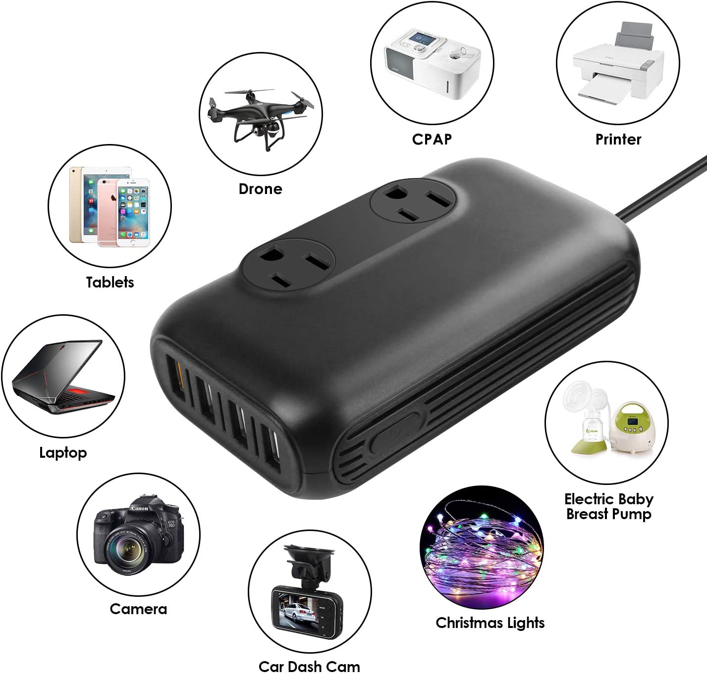 200W Car Power Inverter DC 12V to 110V AC Converter with 4 USB Ports Car Adapter Charger