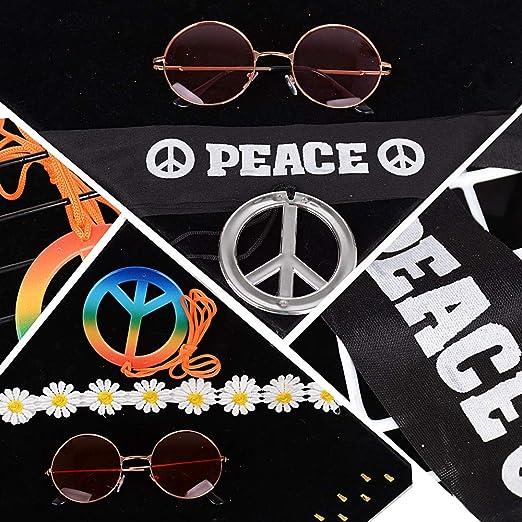 MEJOSER 6pcs Accesorios Disfraz Fiesta Hippie 2pcs Gafas Hippie de Sol 2pcs Colgantes Hippies de la Paz 2pcs Diademas Peace y de Flores Mujer Hombre: Amazon.es: Productos para mascotas