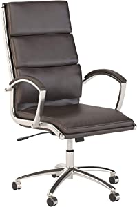 Bush Business Furniture Series C Elite High Back Leather Executive Office Chair in Brown with Chrome