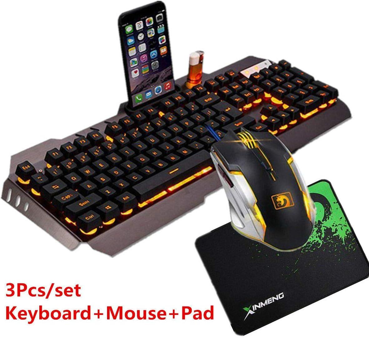 ACHICOO Computer Desktop Gaming Keyboard and Mouse Mechanical Feel LED Light Backlit