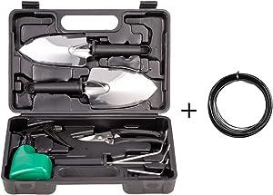 TOORGGOO Garden Tools Set for Family-6Piece Stainless Steel Garden Tool Set with Storage Case Pruners,Rake,Shovel,Trowel,Sprayer,Gardening Gifts for Men&Women(Black 061)