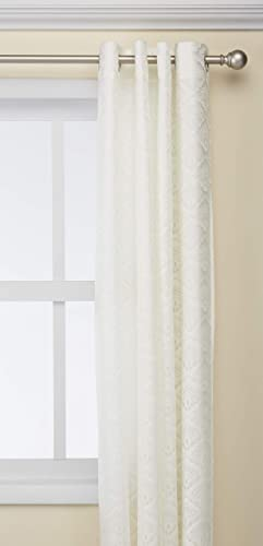 Common Wealth Home Fashions Anna Lined Lace Panel Pair, White, 104 x 63 ,PR