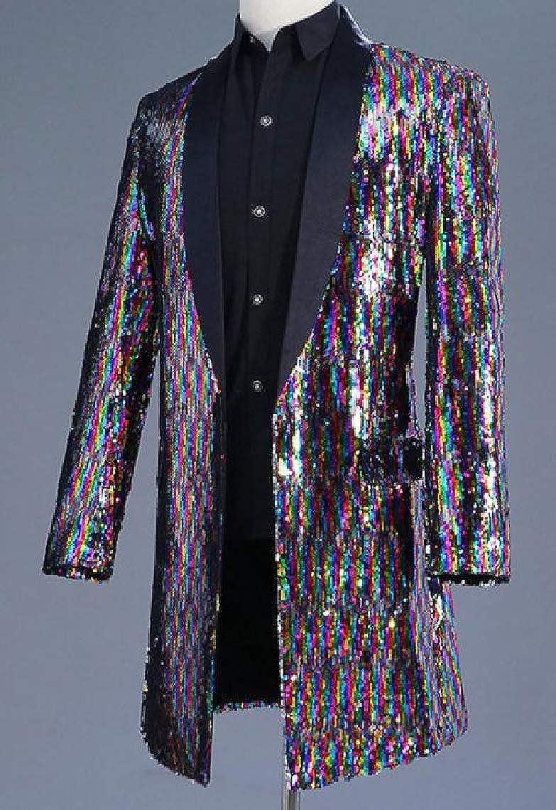 KaWaYi Men Evening Club Colorful Sequins Cocktail Party Windbreaker Outwear Blazer