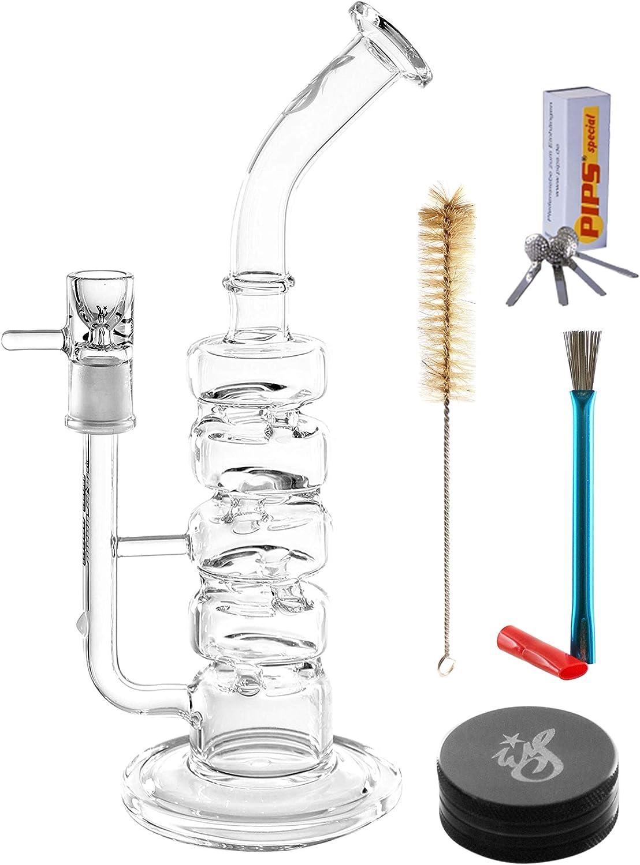 Weedstar Big Fume Glass Bong Set Completo de 5 Piezas - Burbuja 30cm, Cabeza de 14.5 Puntos, Percolador de cámara, Molinillo, Tamices + Juego de Limpieza - Set de Inicio de Bong de Vidrio