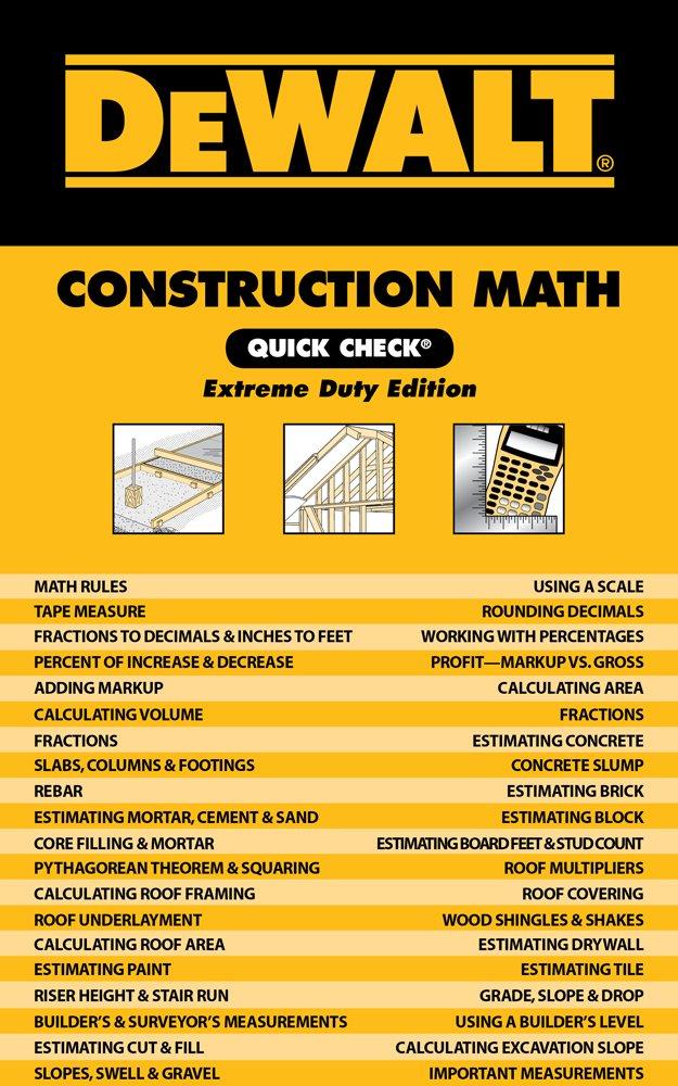 DEWALT Construction Math Quick Check: Extreme Duty Edition (DEWALT Series) by Brand: DEWALT