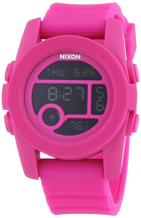 Nixon - Reloj Digital de Cuarzo para Mujer, correa de Silicona color Rosa