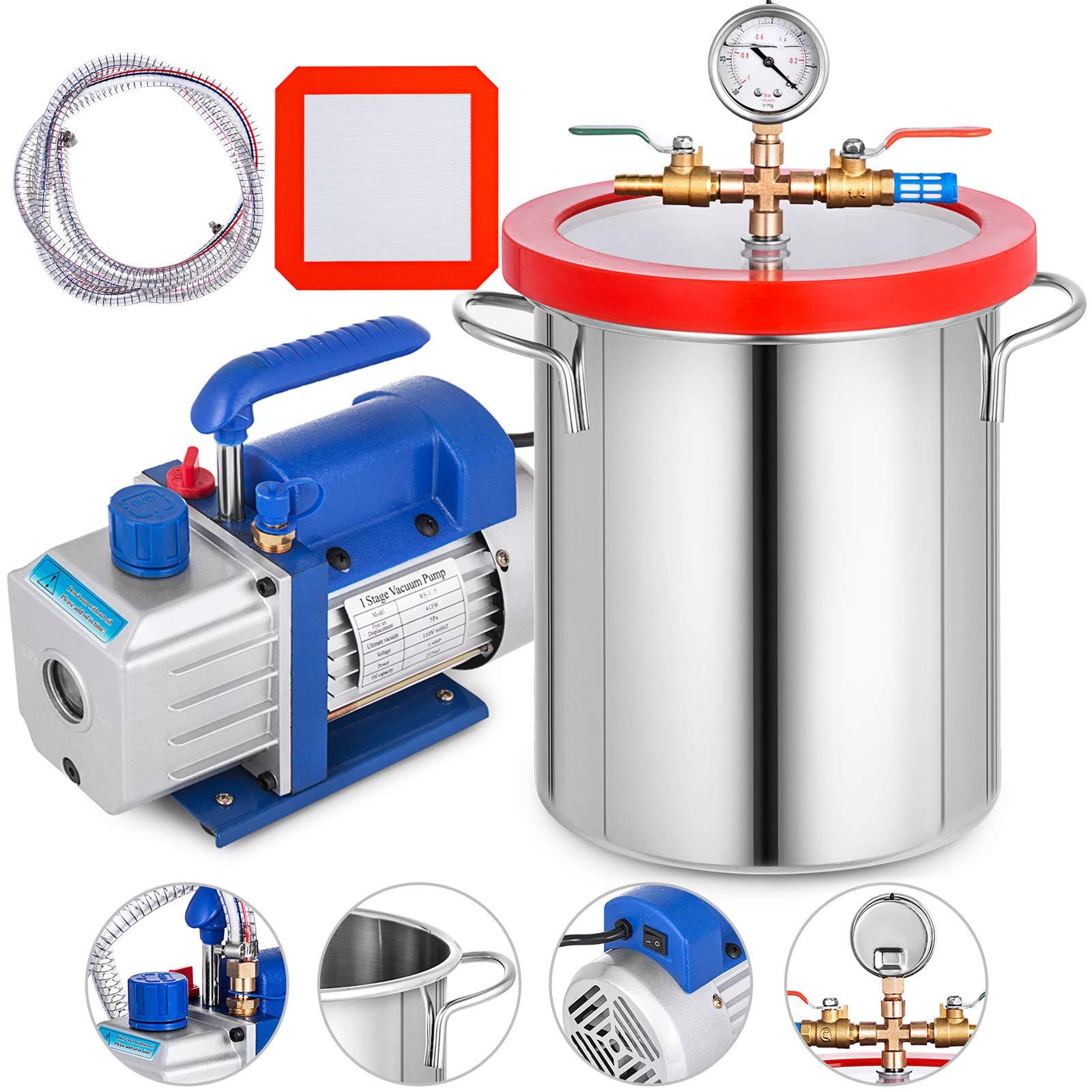 Bestauto Stainless Steel Vacuum Pump 3 Gallon Degassing Chamber Kit 3CFM Vacuum Pump (3 Gallon 3 CFM) by Bestauto