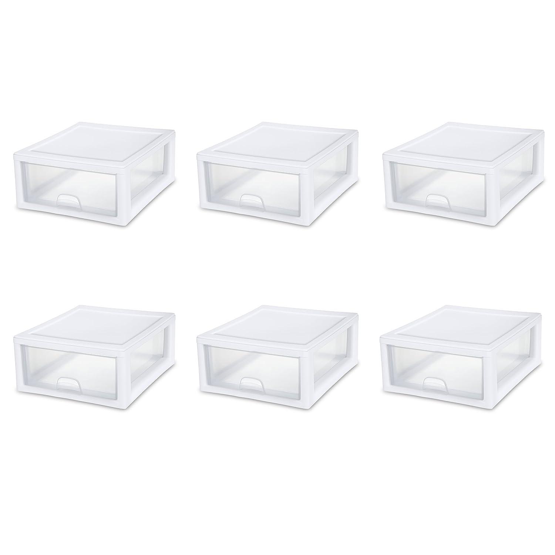 Sterilite 23018006 16 Quart/15 Liter Stacking Drawer, White Frame with Clear Drawers, 6-Pack