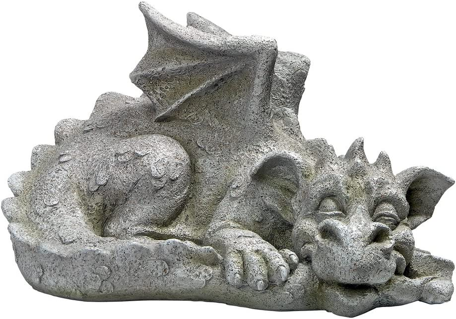 Design Toscano LY39427 Blushing Babel, The Bashful Dragon Statue, Medium, Antique Stone