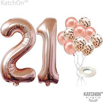 Amazon.com: Globos de 21 números, oro rosa – 21 cumpleaños ...