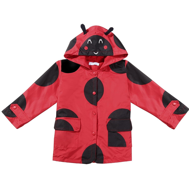 Arshiner Girls Kids Rain Jacket Outwear Raincoat Waterproof Hoodies AM003603